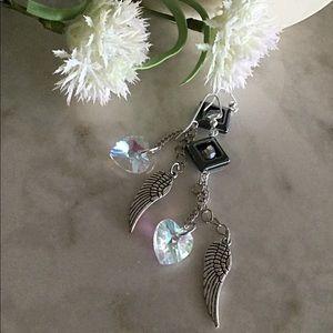 Heart Earrings Angel Wings Earrings.  Dangle